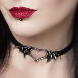 Legends Jewelry - Vampire Bat Heart Necklace Choker Gothic Horror